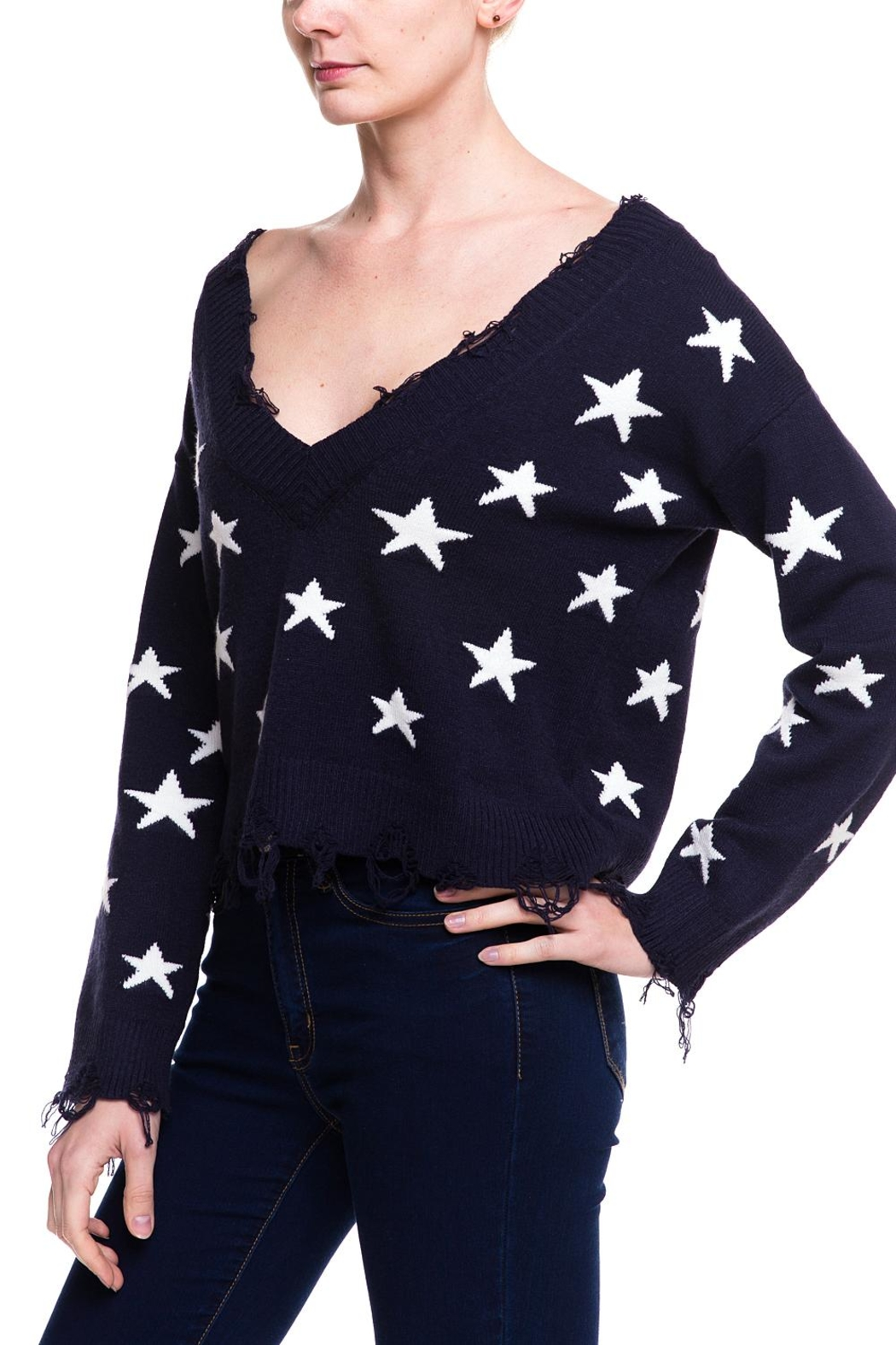 Honey Punch Distressed Star Sweater - Side Cropped Image