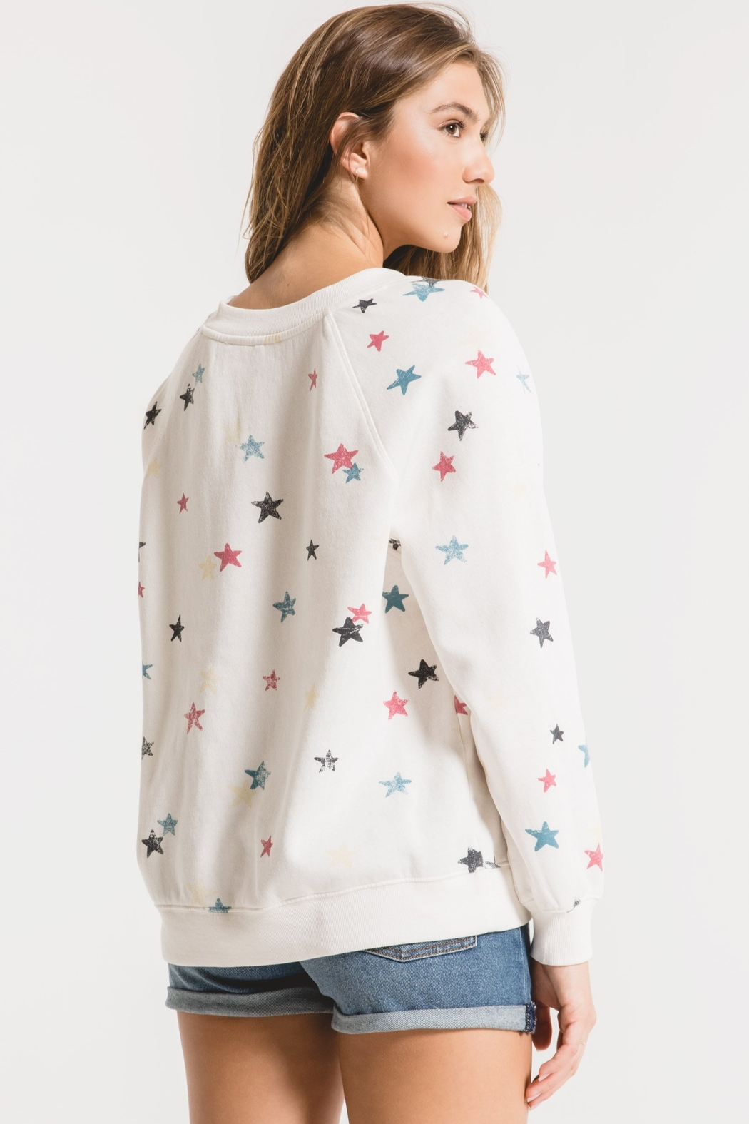 z supply Distressed Star Sweatshirt - Side Cropped Image
