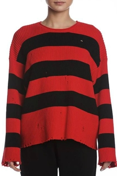 SEN Collection Distressed Striped Sweater - Alternate List Image
