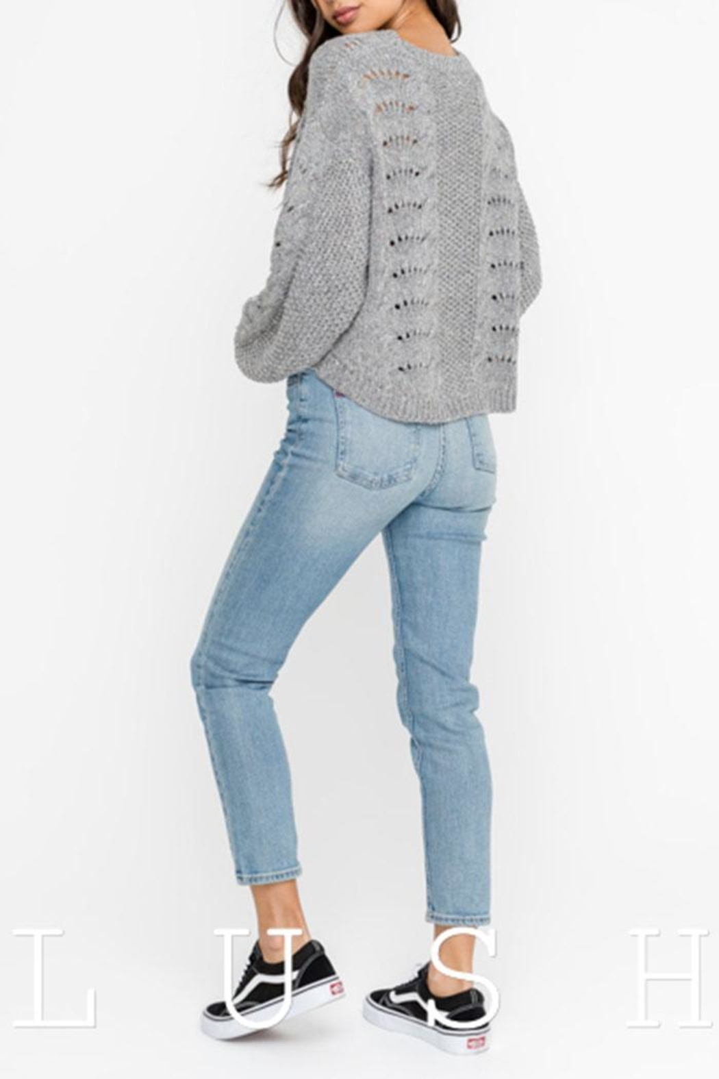 Lush Distressed Sweater Top - Front Full Image