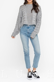 Lush Distressed Sweater Top - Front cropped