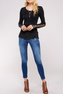 Urban X Distressed Thermal With Embroidered Lace Crochet Patch - Black - Alternate List Image