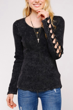 Urban X Distressed Thermal With Embroidered Lace Crochet Patch - Black - Product List Image