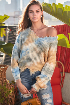 Shoptiques Product: Distressed Tie Dye Sweater