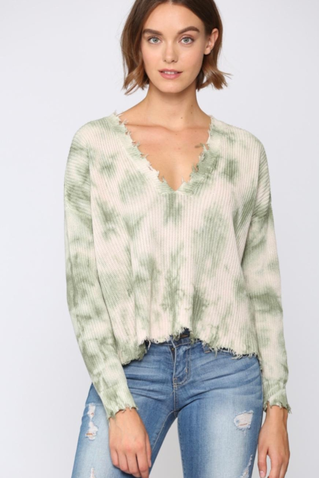 Fate Distressed Tie Dye Sweater - Front Cropped Image