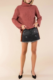 POL Distressed Turtleneck-Knit Sweater - Front full body