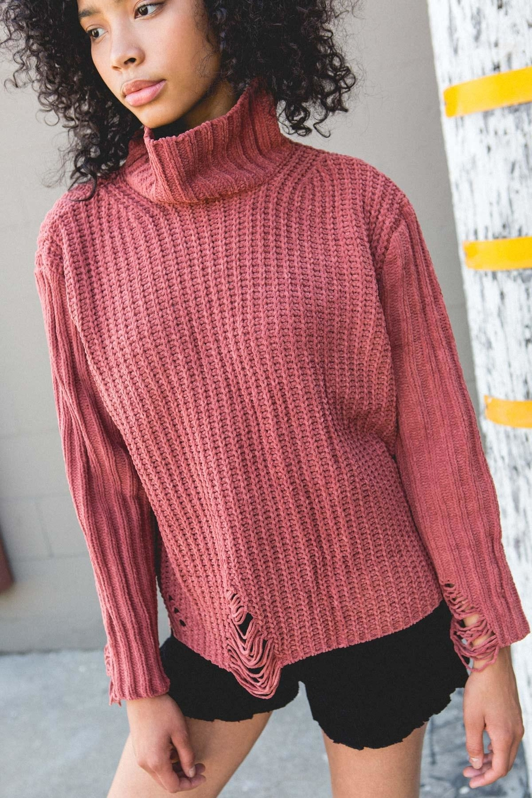POL Distressed Turtleneck-Knit Sweater - Main Image