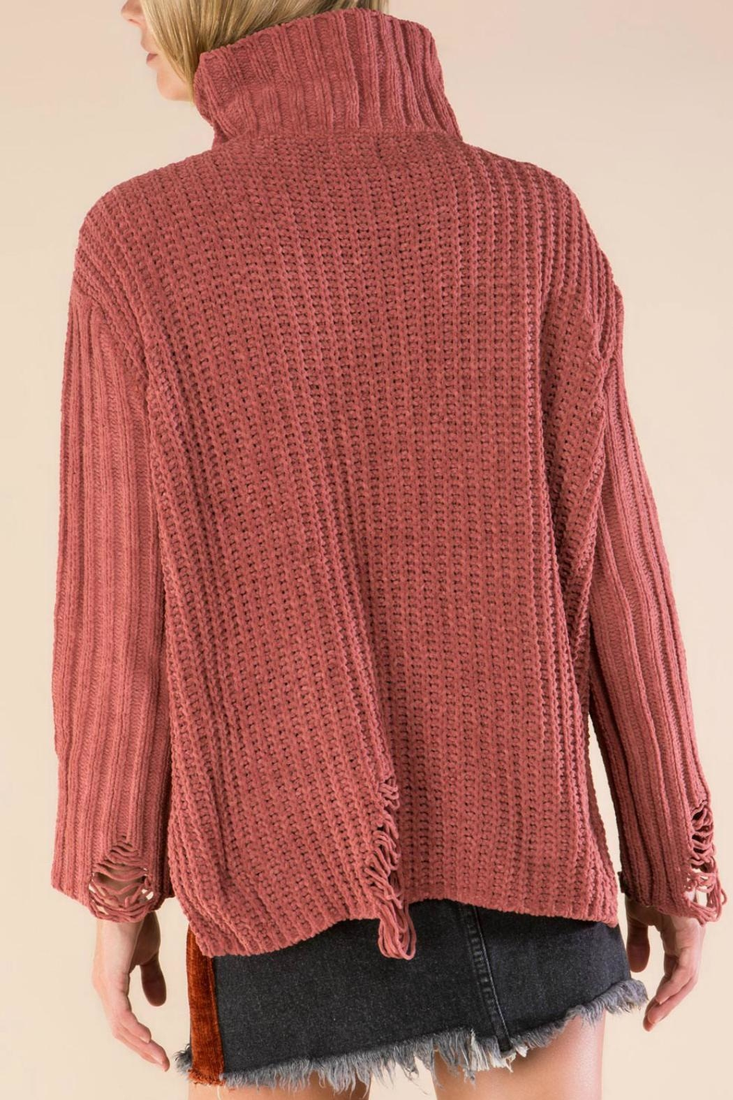 POL Distressed Turtleneck-Knit Sweater - Side Cropped Image