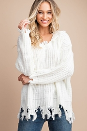 eesome Distressed V Neck Hoodie Sweater Top - Product Mini Image