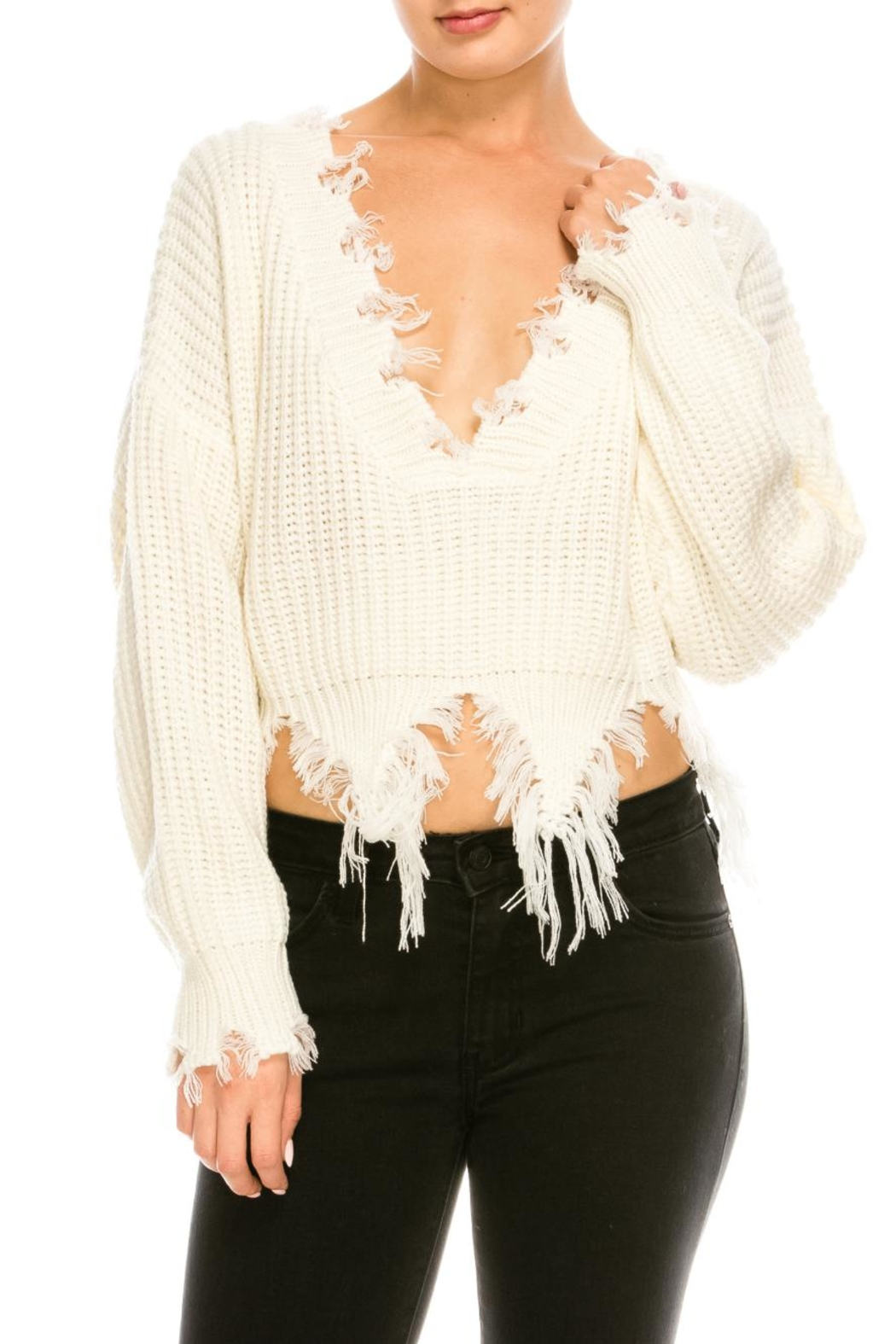 6c59811f06e28 Dance   Marvel Distressed v-Neck Sweater from New York by Dor L Dor ...