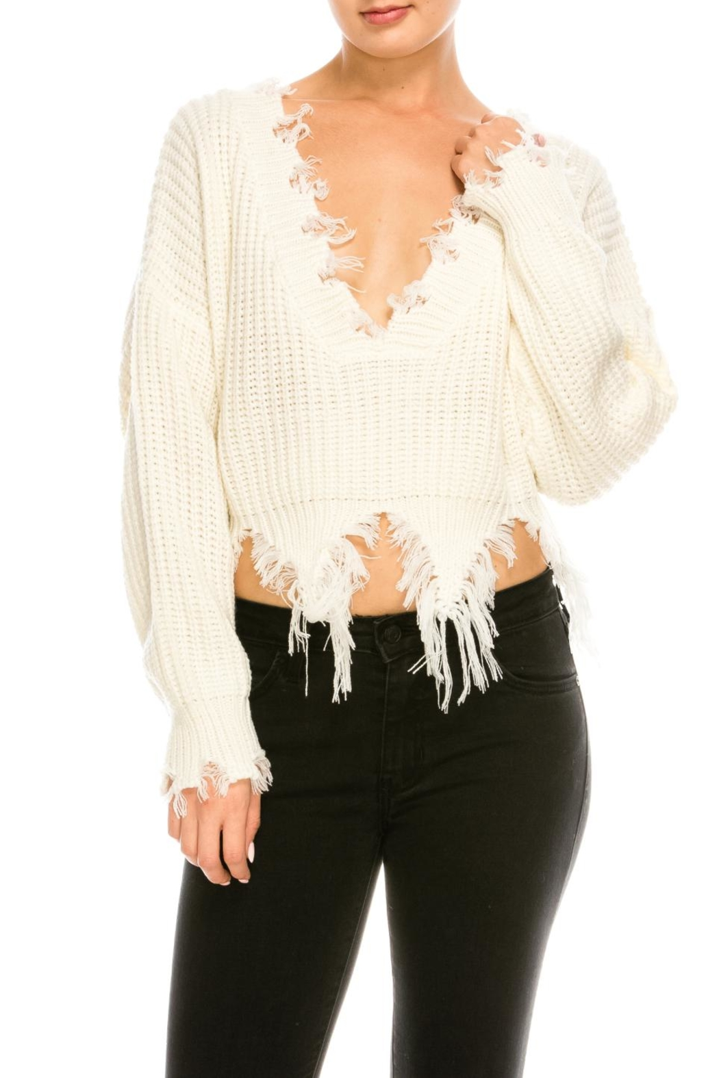 77fba190d3aa Dance   Marvel Distressed v-Neck Sweater from New York by Dor L Dor ...