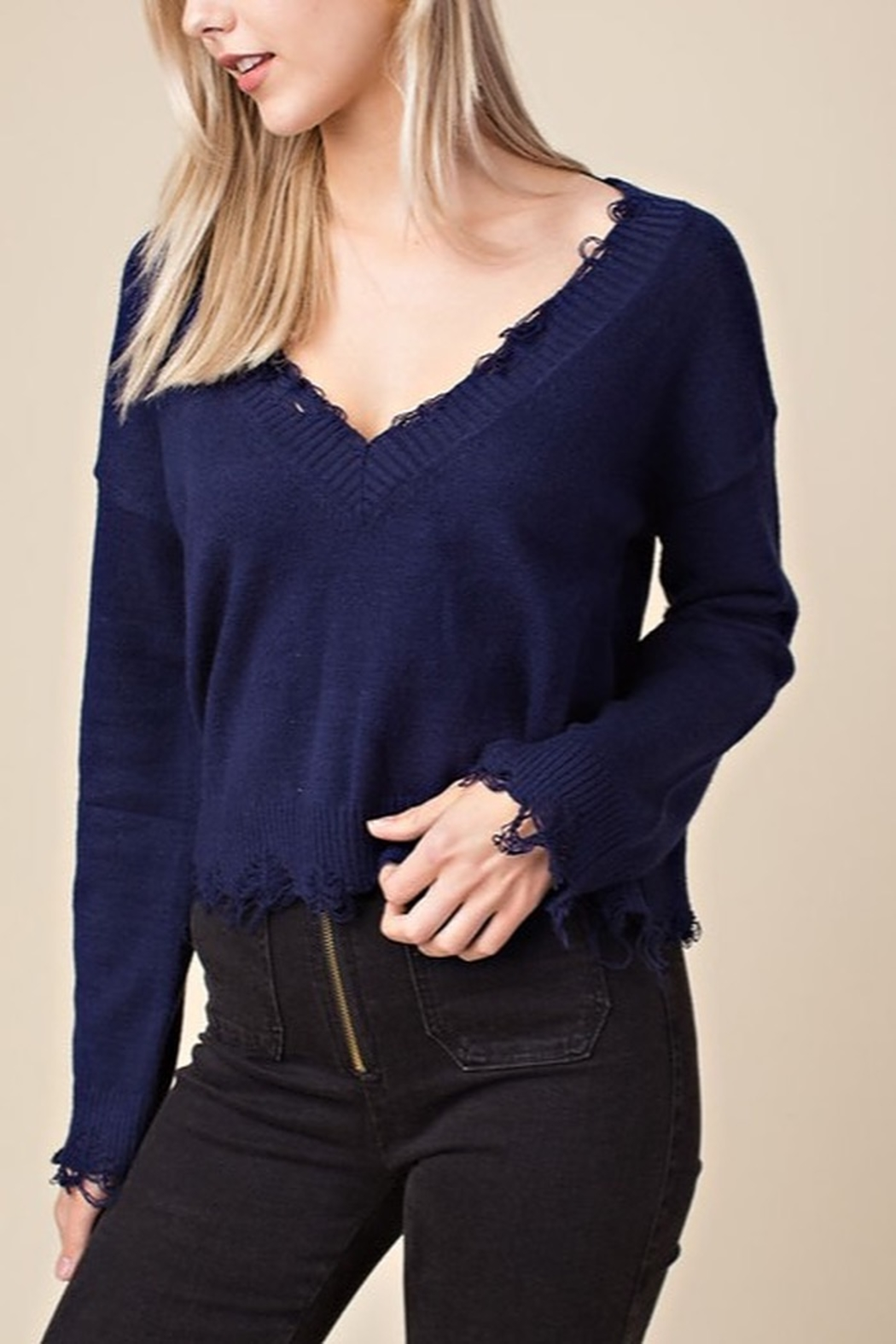 Honey Punch Distressed V-Neck Sweater - Front Cropped Image
