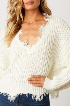 Shoptiques Product: Distressed V-Neck Sweater