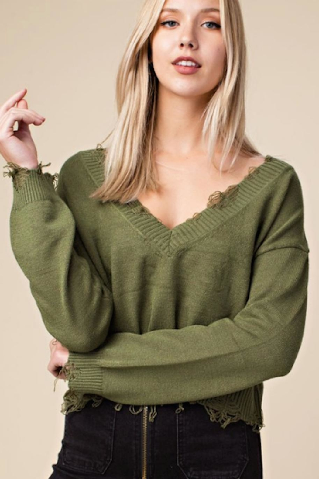 Wild Honey Distressed v-Neck Sweater - Front Cropped Image