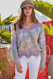 main strip  Distressed V Neck Tie Dye Sweater - Front cropped