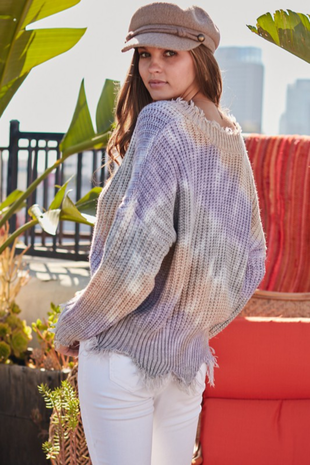 main strip  Distressed V Neck Tie Dye Sweater - Front Full Image