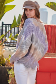main strip  Distressed V Neck Tie Dye Sweater - Front full body