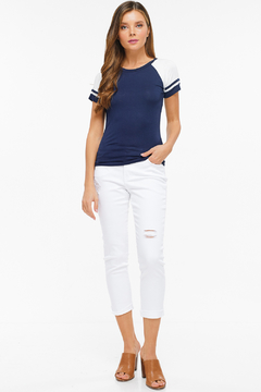 MONTREZ DISTRESSED WHITE CROPPED SKINNY JEANS - Product List Image