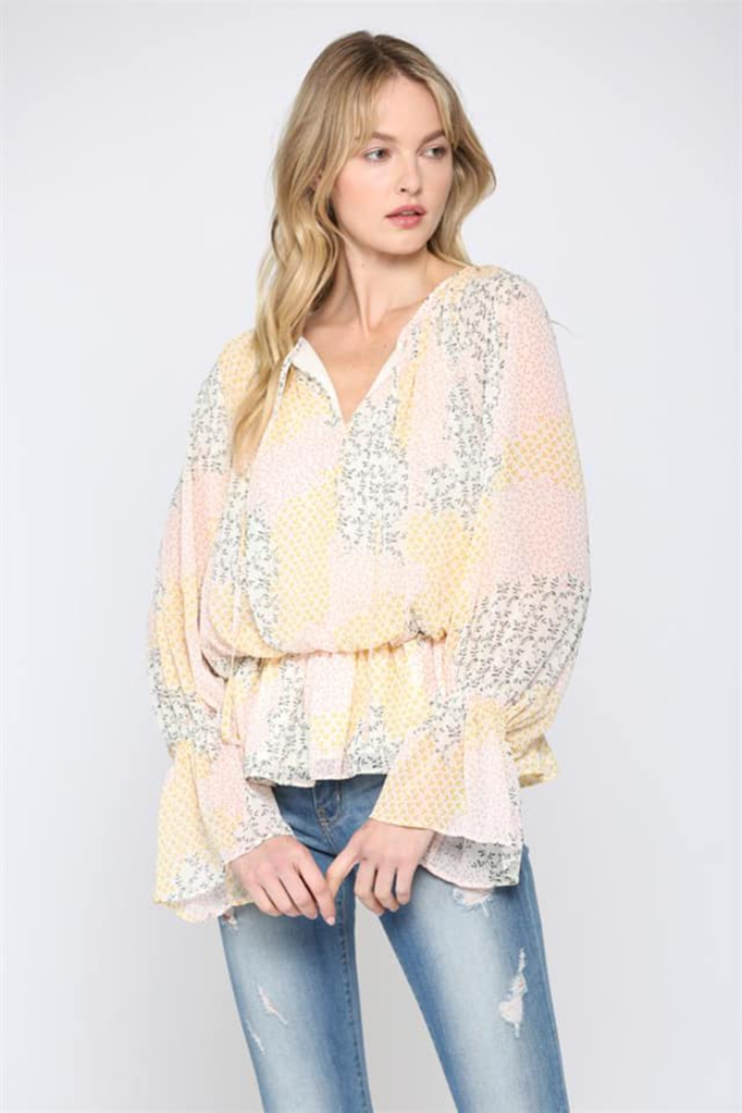 Fate Inc. Ditsy Printed Chiffon Blouse - Front Cropped Image