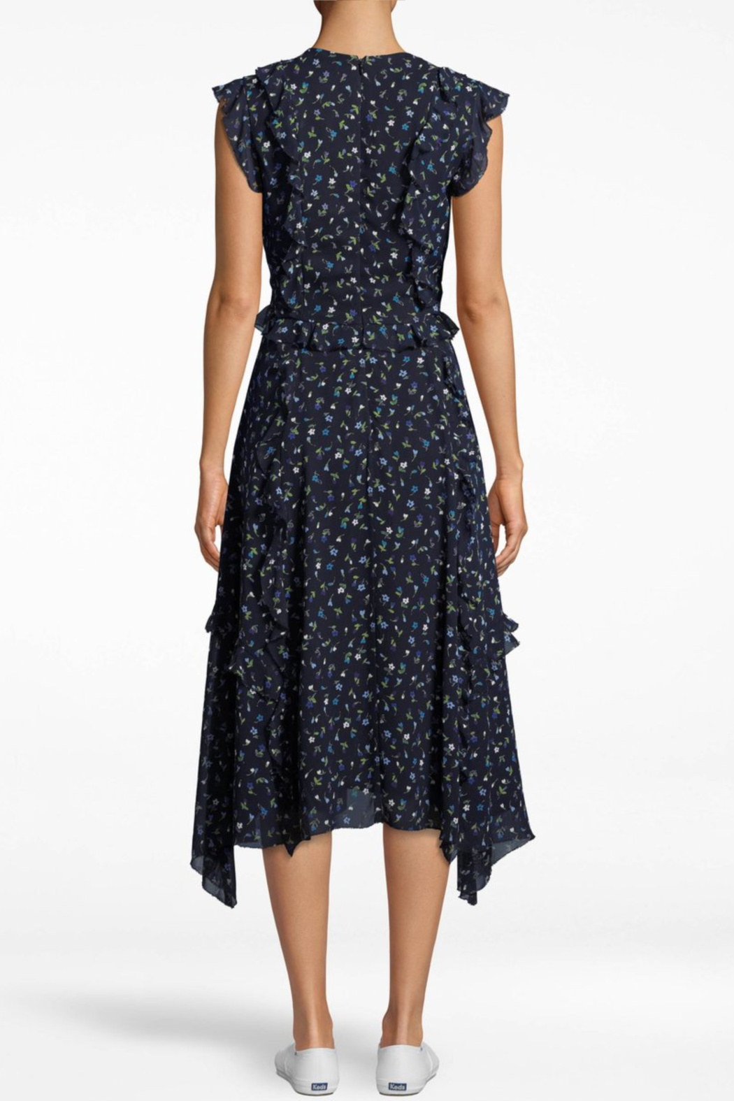 Nicole Miller Ditsy Ruffle Dress - Front Full Image