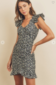 dress forum Ditzy Daisy Ruched Floral Dress - Front cropped