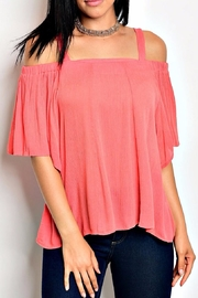 DIVA FASHION Coral Cold Shoulder Top - Product Mini Image