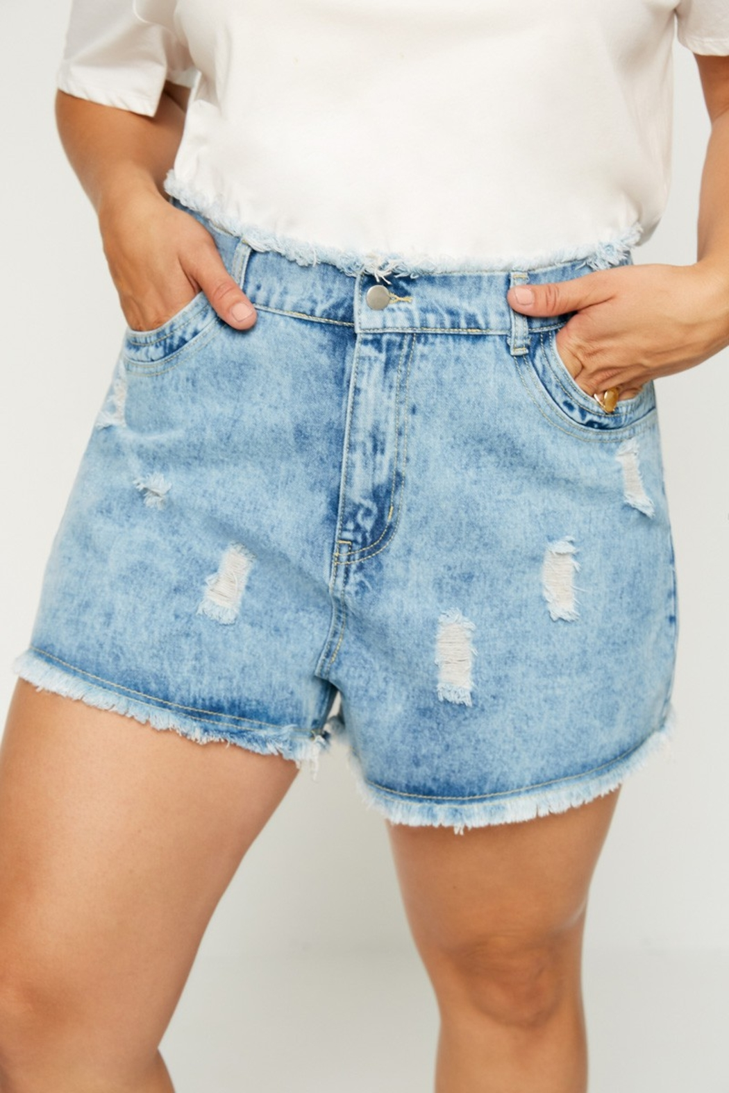 Hayden Los Angeles Divas Amy Distressed Shorts - Front Cropped Image