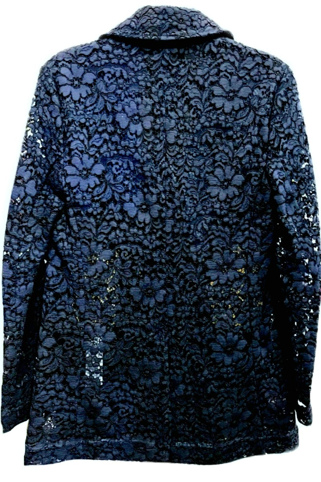 Dixie Navy Lace Blazer - Side Cropped Image