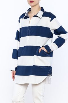 Shoptiques Product: Navy Stripe Tunic Top