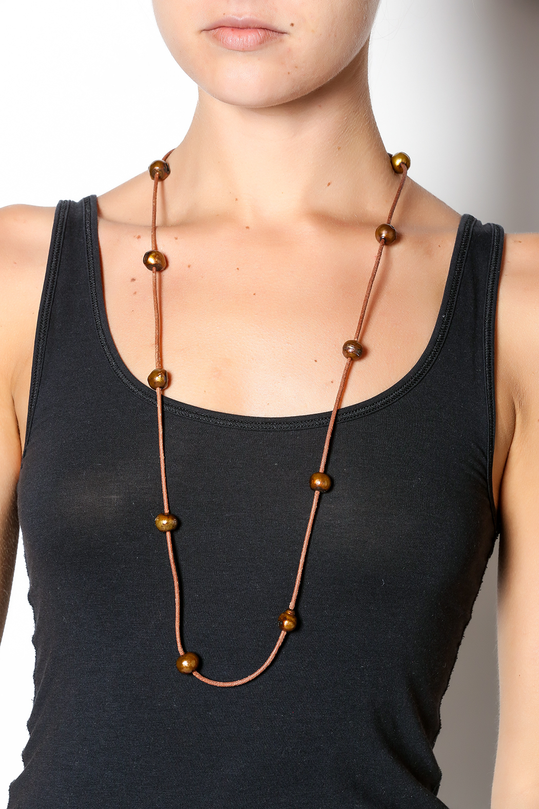 Djuna Chocolate Pearl Necklace - Back Cropped Image