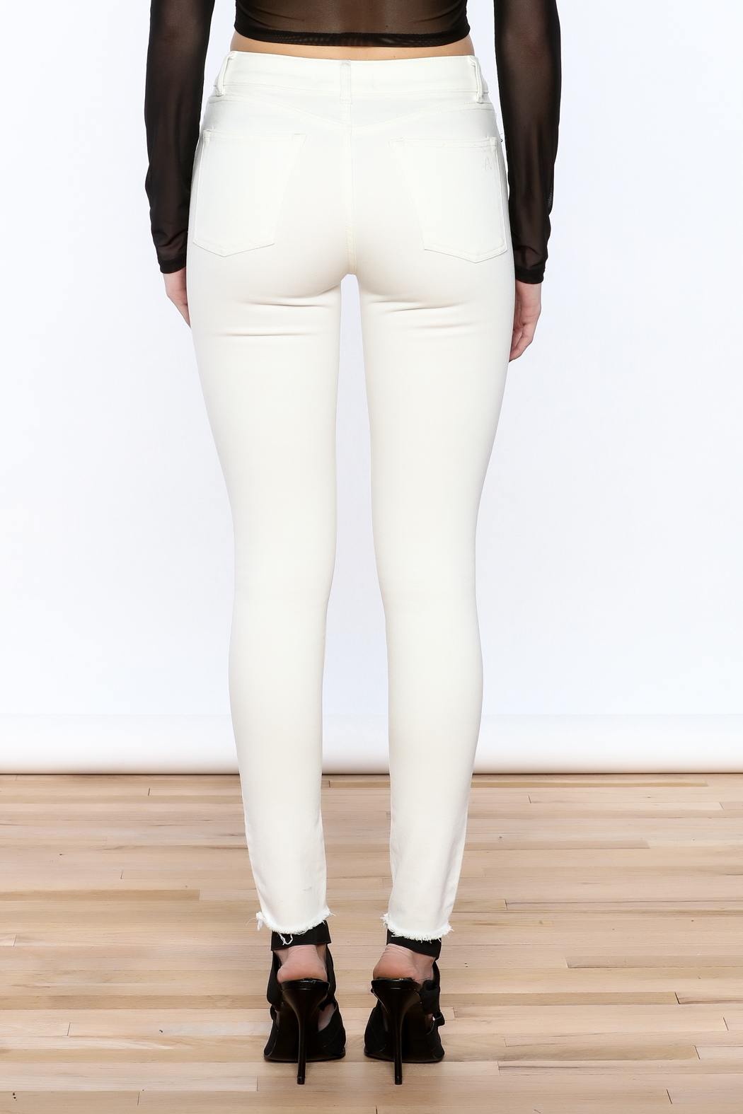 DL 1961 White Skinny Jeans - Back Cropped Image