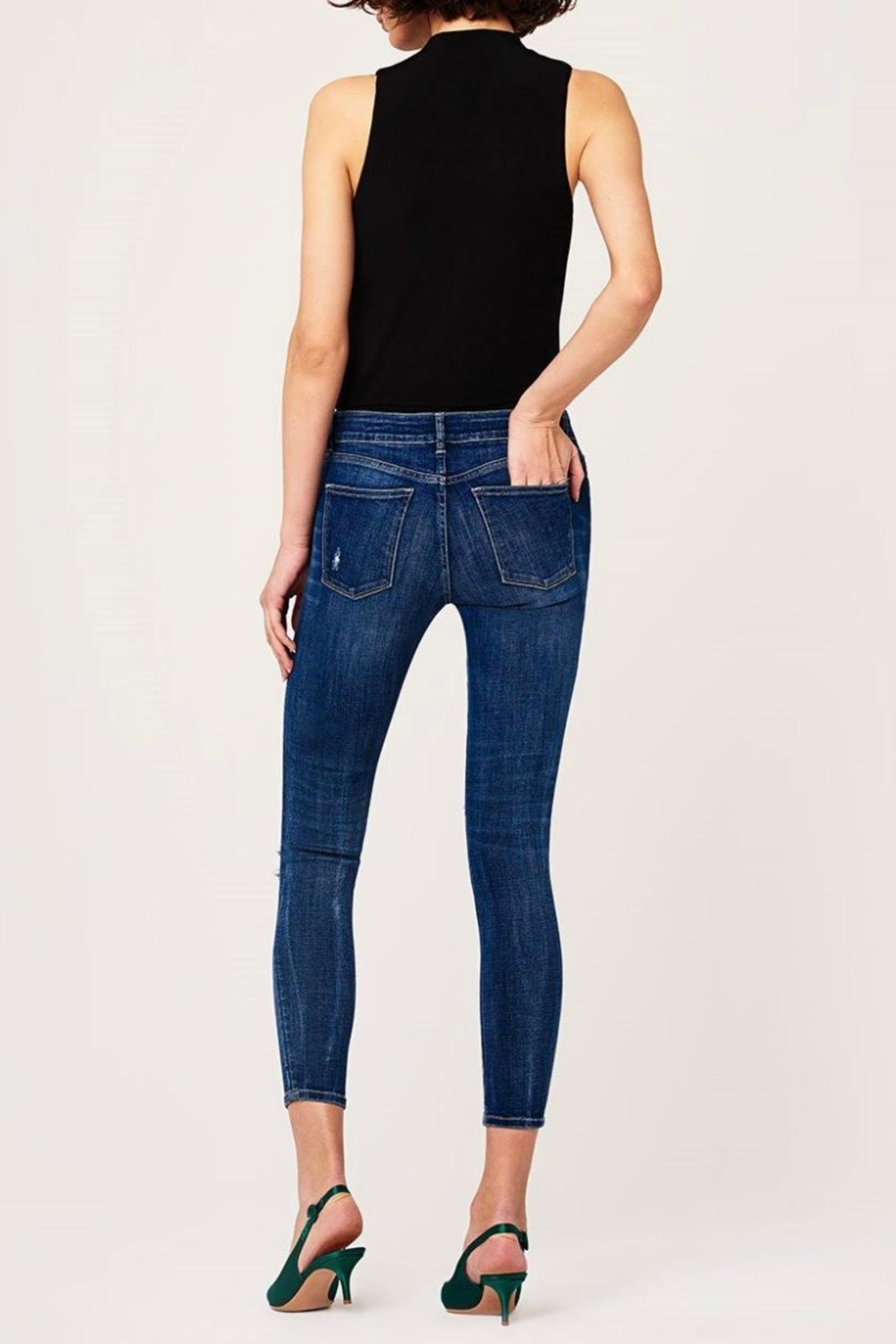 DL1961 Destructed Knee Skinny Jeans - Back Cropped Image