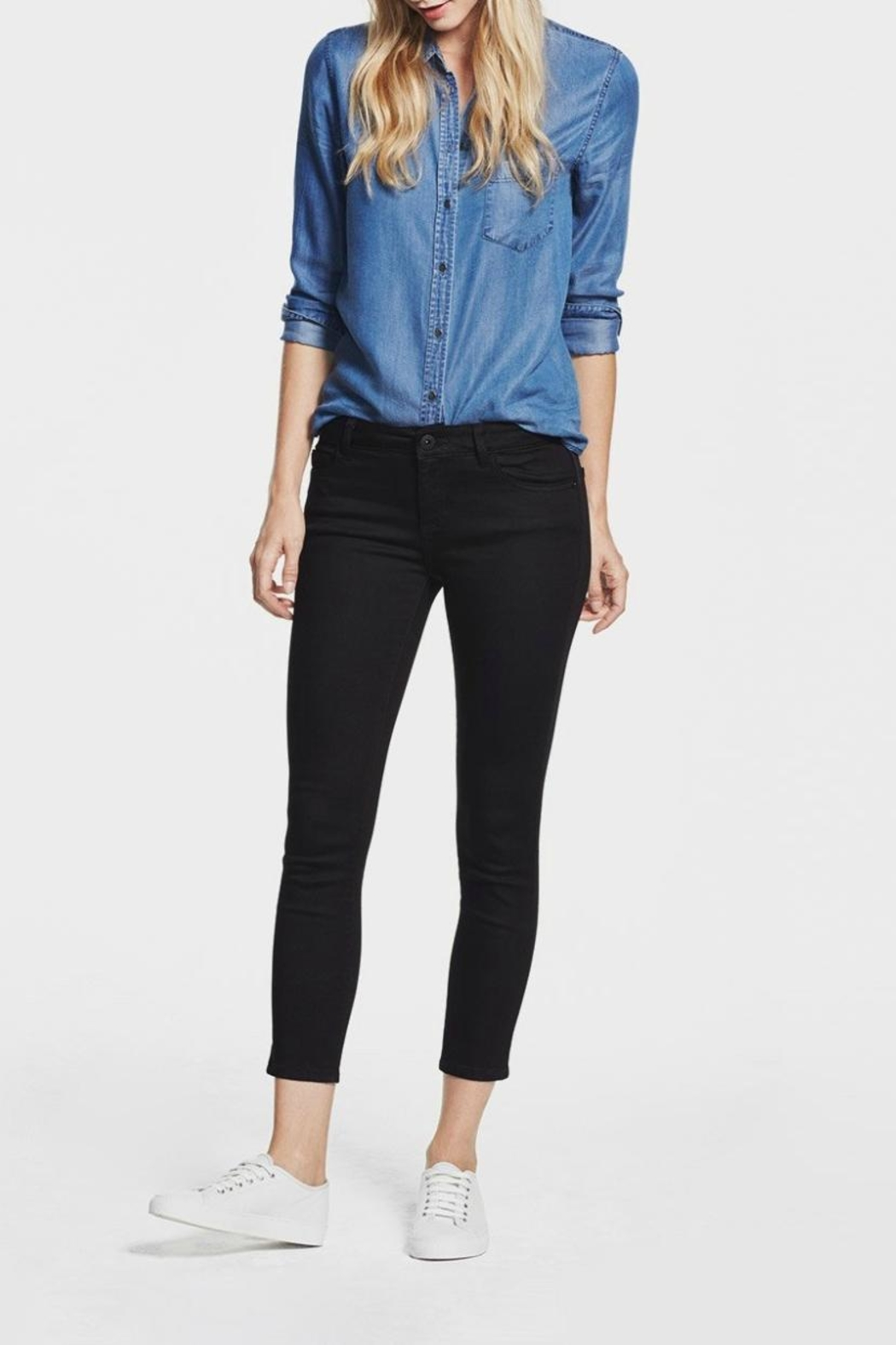 DL1961 Florence Black Cropped Skinny - Front Cropped Image