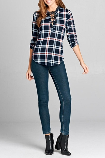 DNA Couture Lace-Up Plaid Hoodie from California by Euphoria Rio Mix — Shoptiques