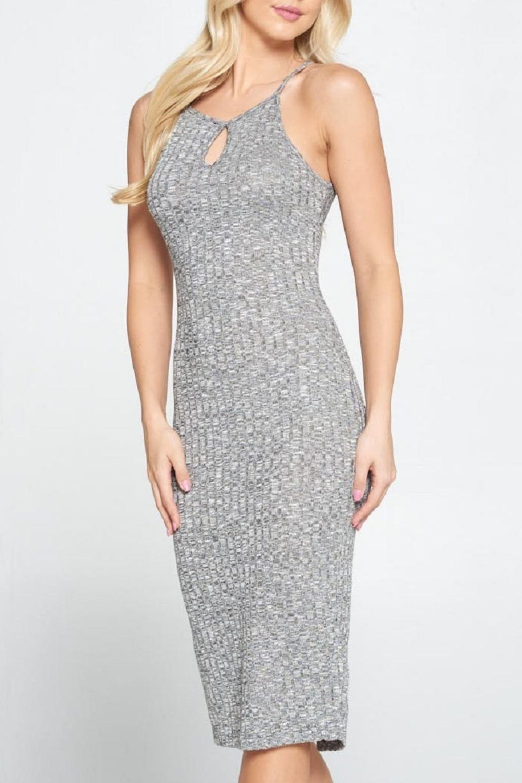 DNA Couture Ribbed Key-Hole Dress - Back Cropped Image