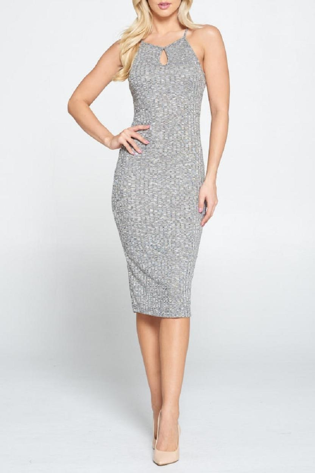 DNA Couture Ribbed Key-Hole Dress - Main Image