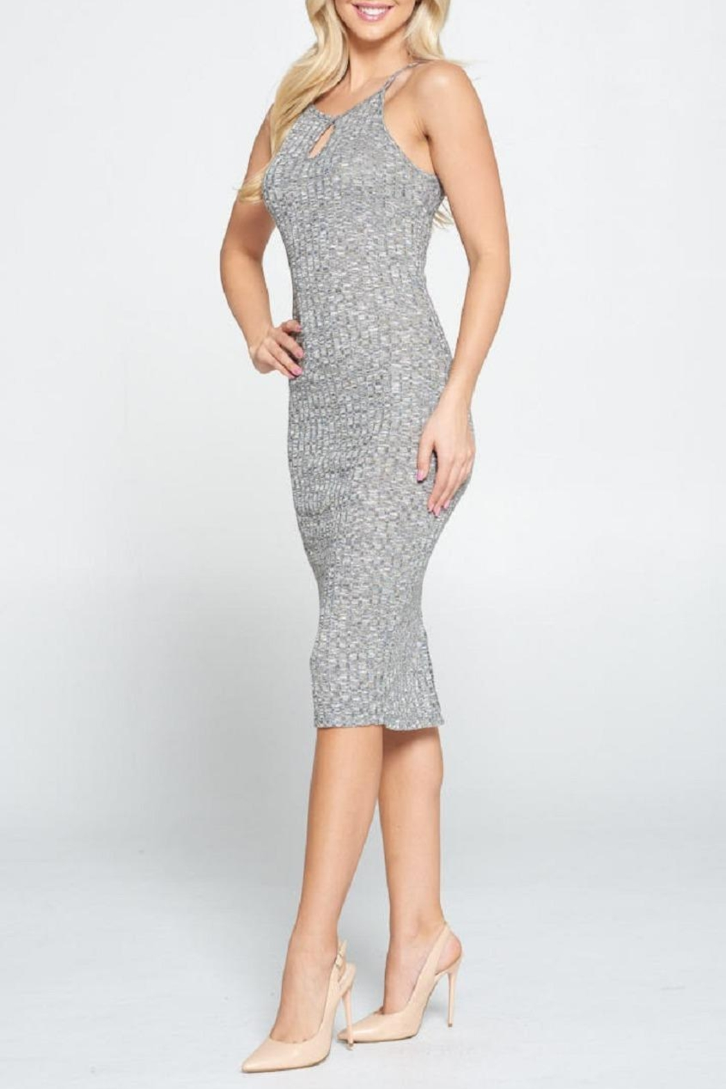 DNA Couture Ribbed Key-Hole Dress - Side Cropped Image