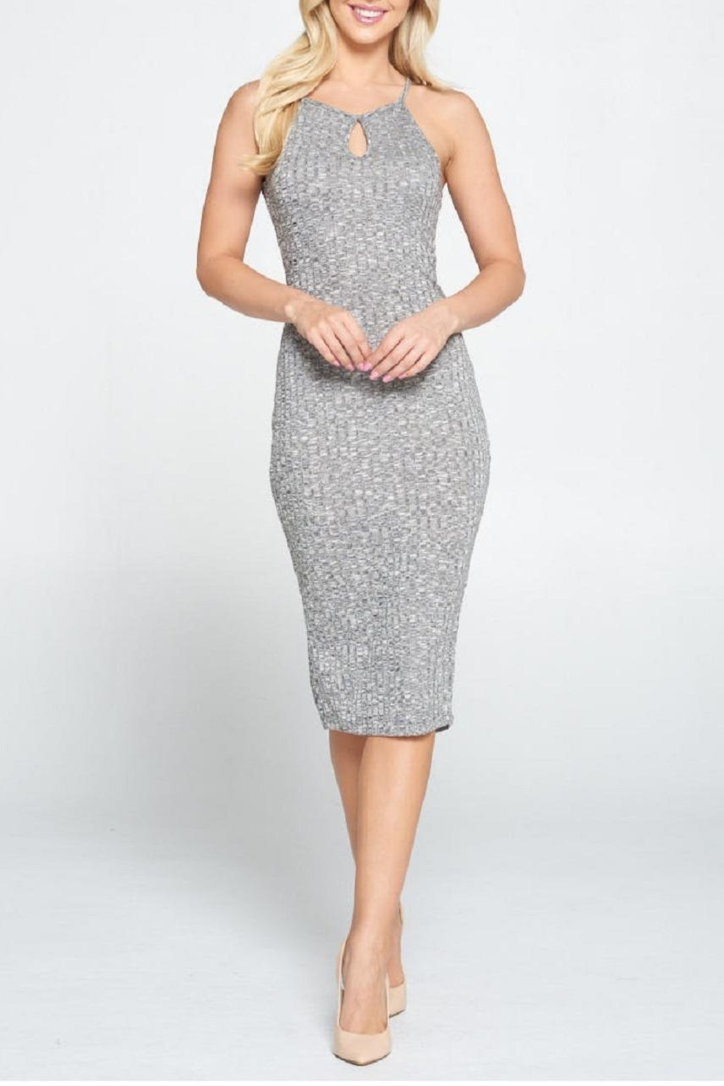 DNA Couture Ribbed Key-Hole Dress - Front Full Image