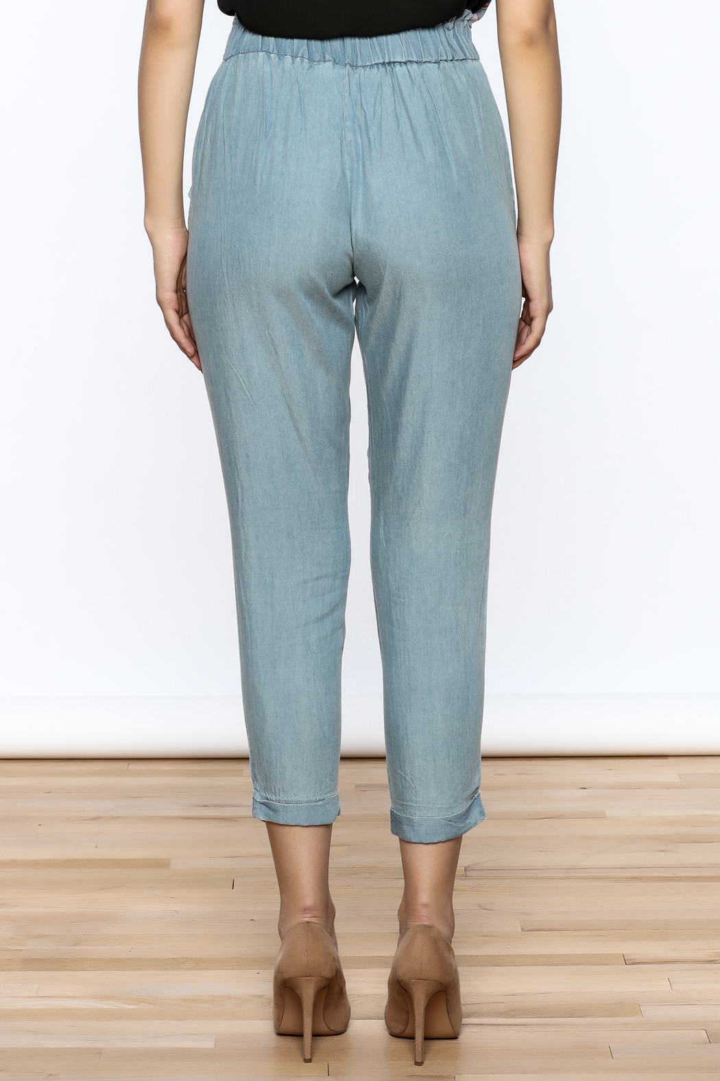 Do & Be Washed Denim Slouch Pants - Back Cropped Image