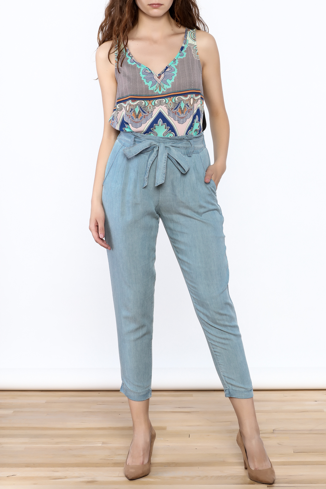 Do & Be Washed Denim Slouch Pants - Front Full Image