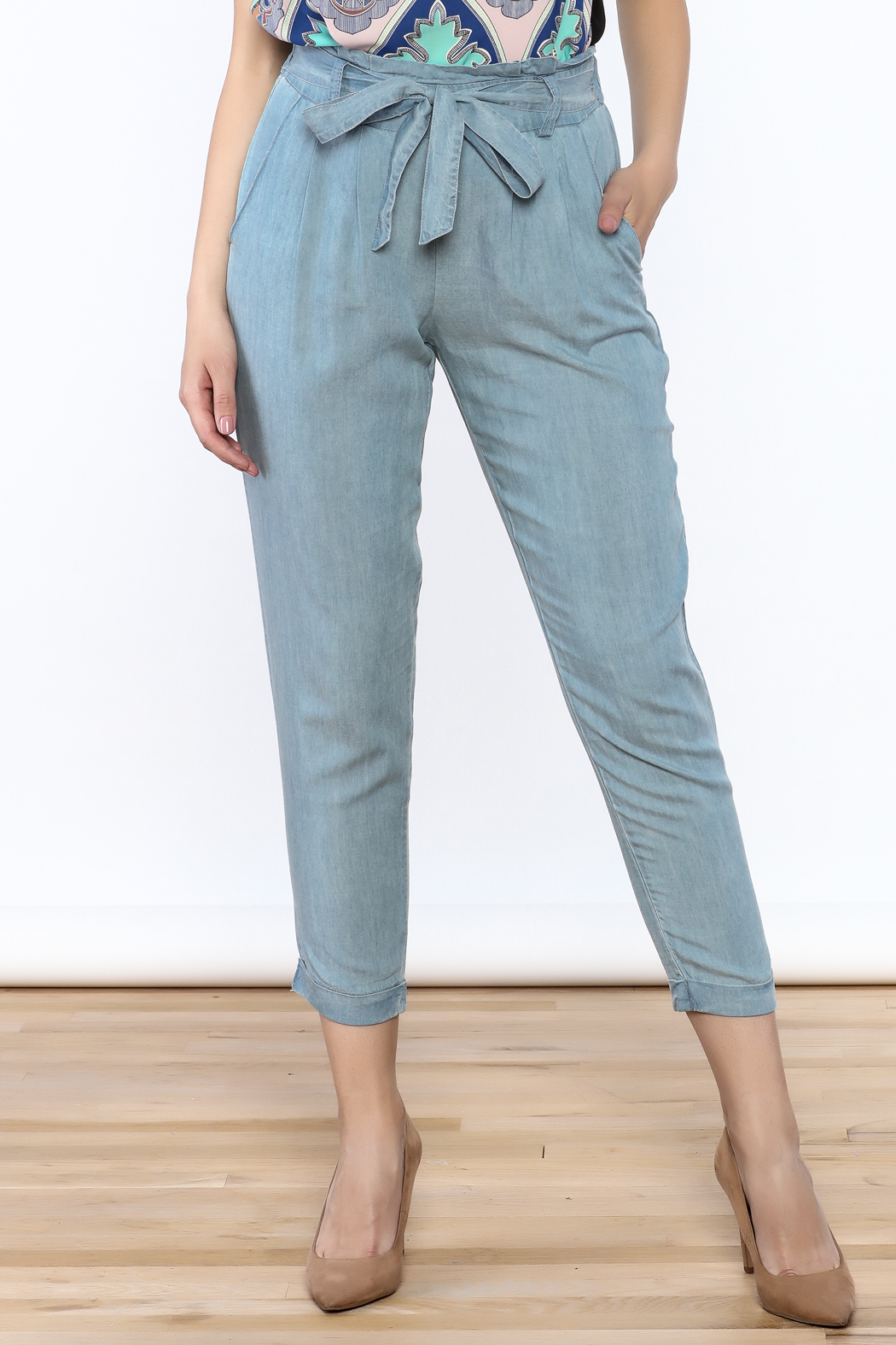 Do & Be Washed Denim Slouch Pants - Main Image