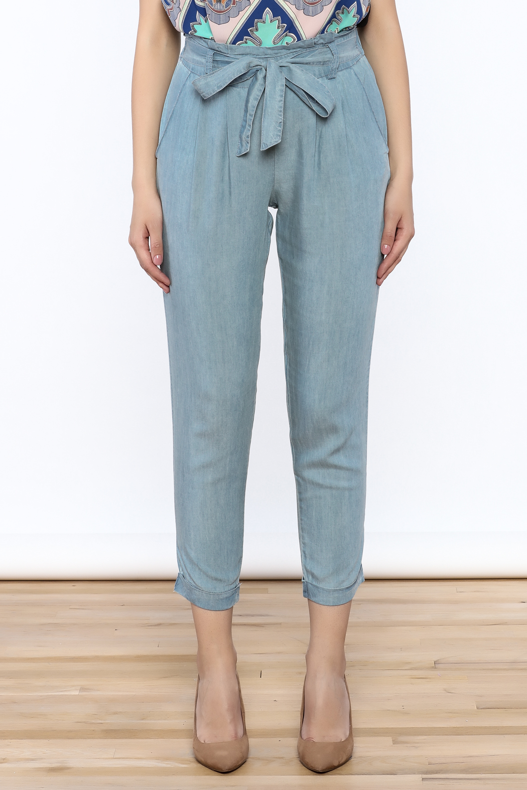 Do & Be Washed Denim Slouch Pants - Side Cropped Image