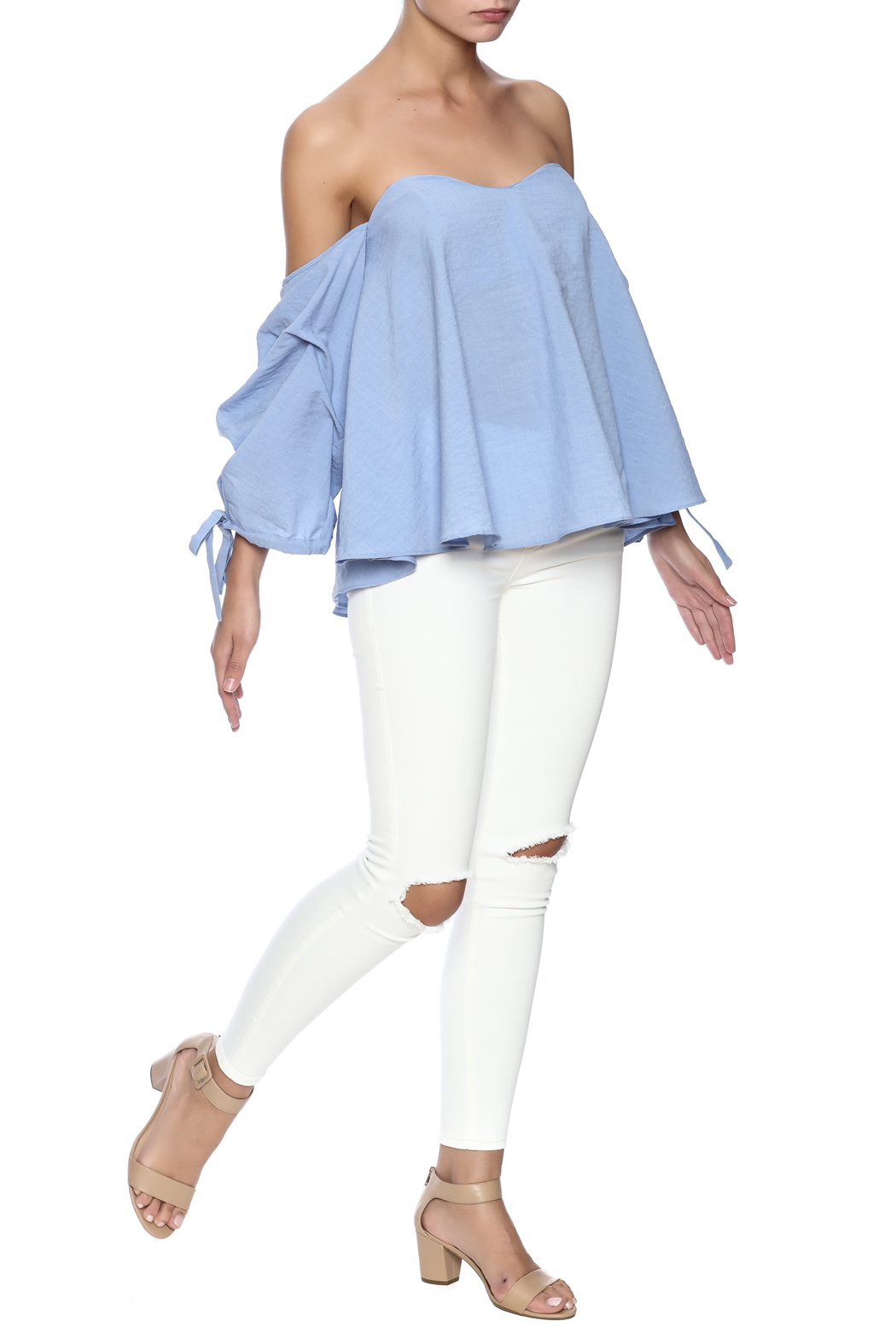 Do & Be Blue Flowy Top - Front Full Image