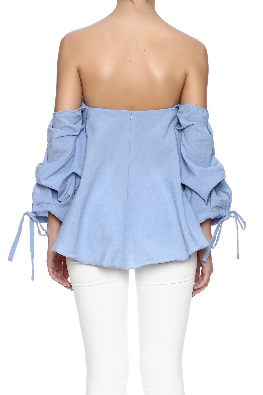 Do & Be Blue Flowy Top - Back Cropped Image