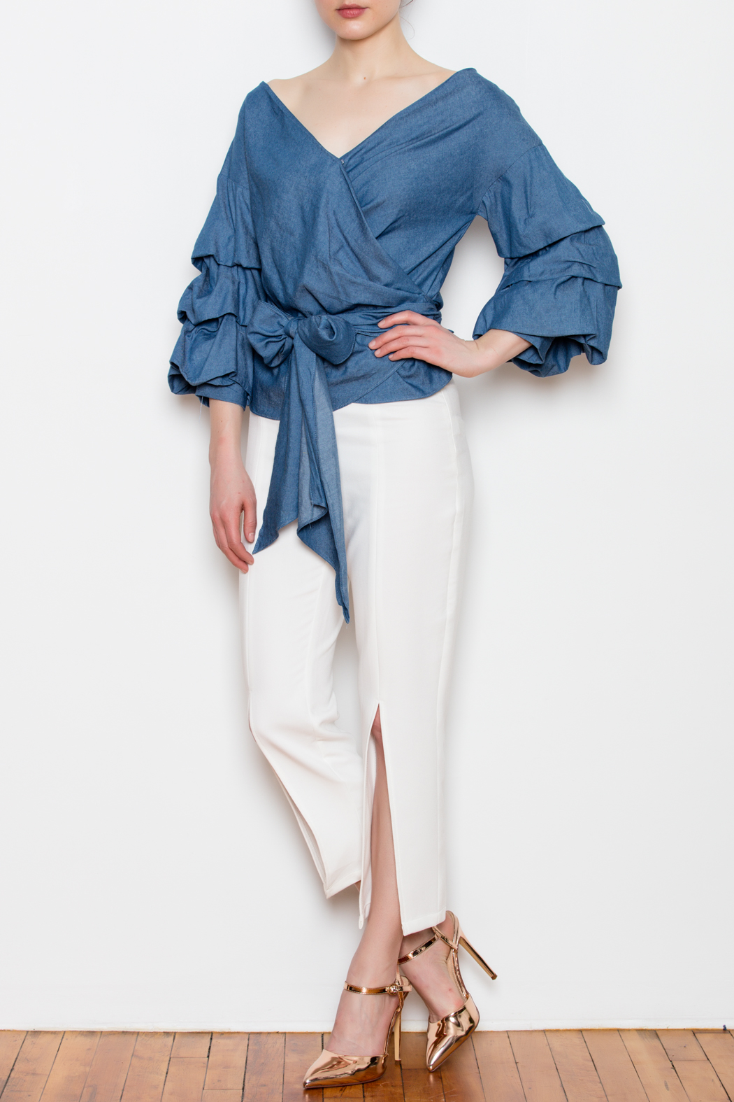 Do & Be Bubble Sleeve Top - Front Full Image