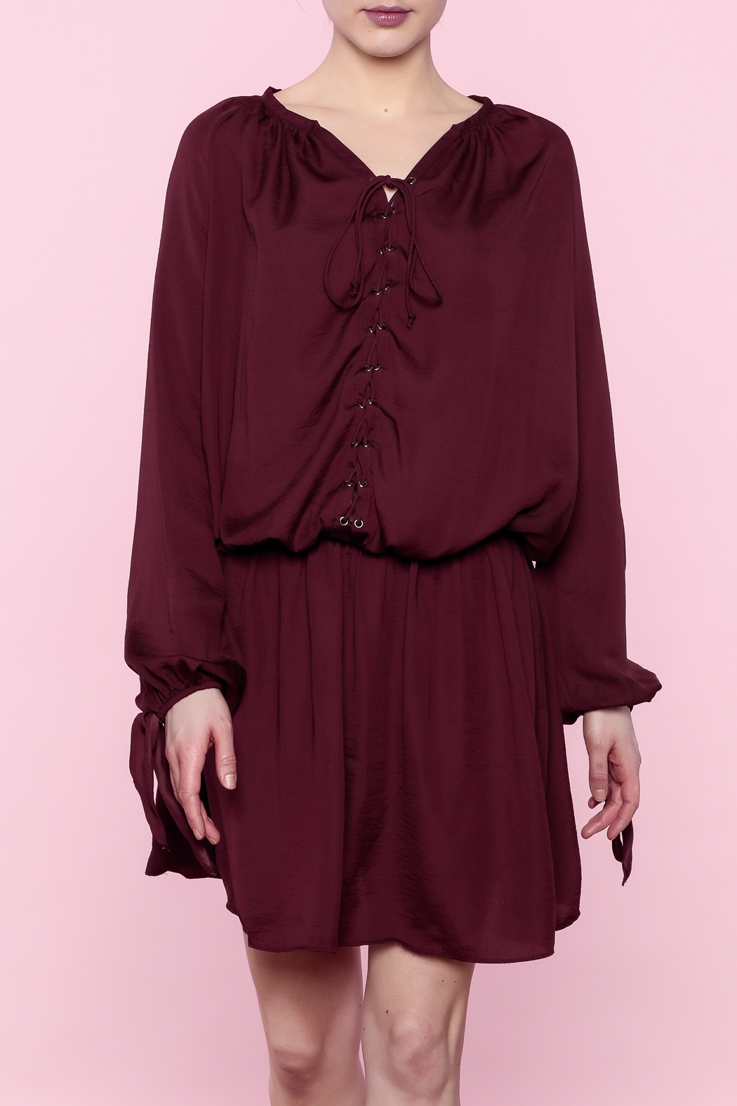 Do & Be Burgundy Lace-Up Dress - Front Cropped Image