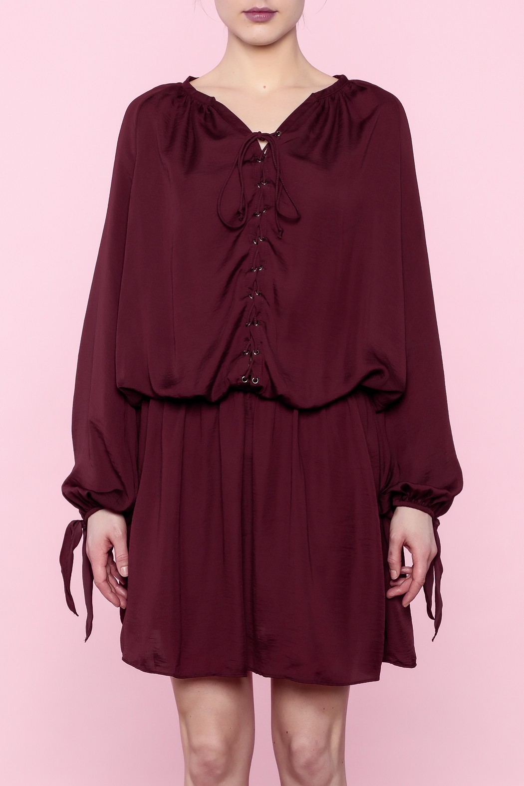 Do & Be Burgundy Lace-Up Dress - Front Full Image