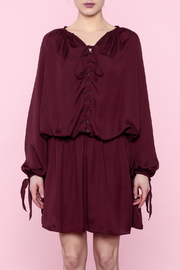Shoptiques Product: Burgundy Lace-Up Dress - Front full body