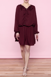 Shoptiques Product: Burgundy Lace-Up Dress - Side cropped