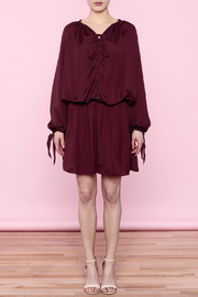 Shoptiques Product: Burgundy Lace-Up Dress - Other
